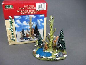 Lemax Nosey Squirrels Village Landscape Trees Pond Accent Christmas Village