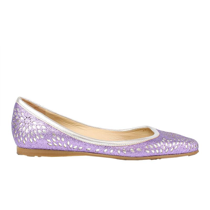39313 auth JIMMY CHOO CHOO CHOO purplec Glitter & silver leather Ballet Flats shoes 36.5 3dd3a8