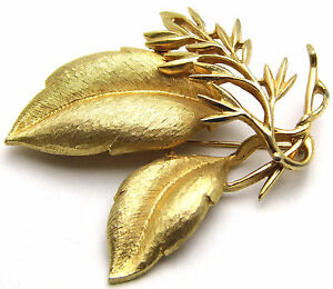 Fashion Jewelry Vintage Sarah Coventry Pin W/triple Leaf Style Design Simple Daily Gold Tone