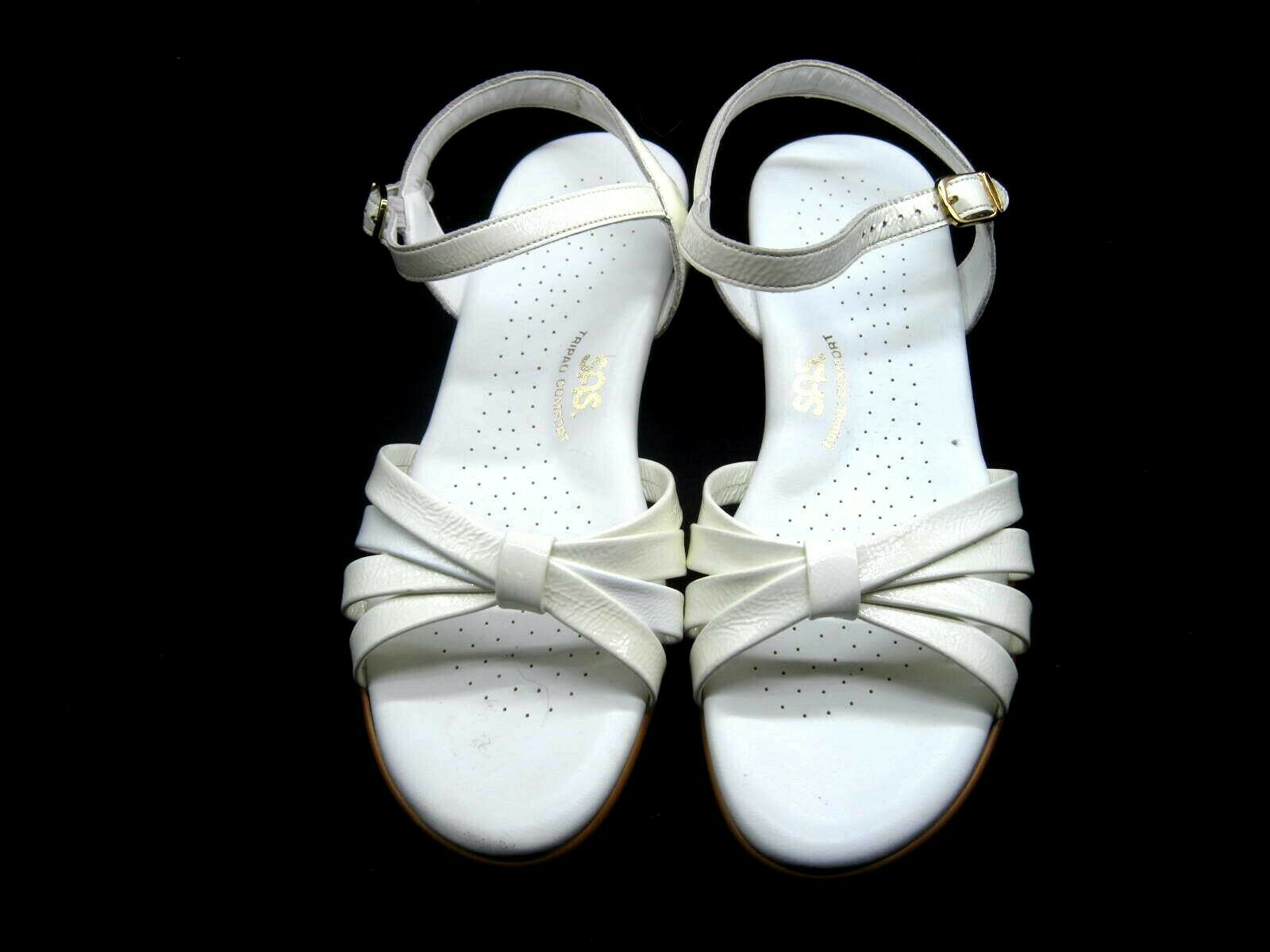 135 SAS 9.5M white strippy womens ladies comfort sandals shoes C0161449