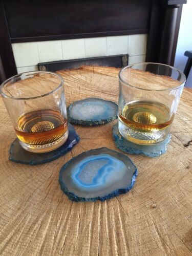 Large Natural Edges Pink Agate Stone Coasters Soft Rubber Feet - Set of 4