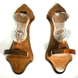 (2) Vintage Homco Home Interiors Wall Sconces Wooden Heart w/Glass Votives