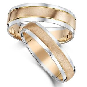 9 Karat His Hers Eheringe Zweifarbig Gold Ringe 5 6 Mm Bander Ebay