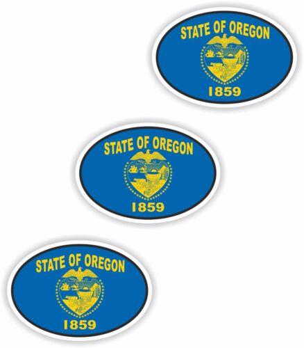 "0.8/""x1.2/"" Oregon Small Country Code 3x Oval Flag Stickers Helmet Bumper Bike"