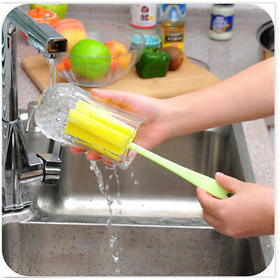 Popular  Sponge Brush Bottle Cup Glass Washing Cleaning Kitchen Cleaner Tool