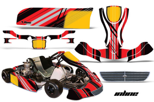 Go Kart Racing Graphics Kit Decal Sticker Wrap For KG EVO Stilo INLINE RED BLACK