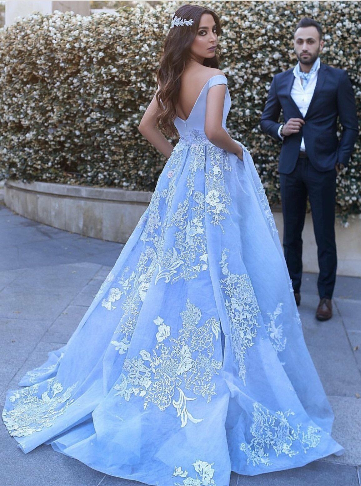 2018 Lace Appliques Baby Baby Baby bluee Formal Evening Gown Prom Ball Party Prom Dresses f305c1