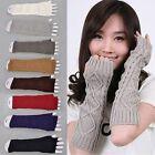 Ladies Solid Fingerless Knit Mitten Women Long Gloves Winter Arm Warmer SHIP US