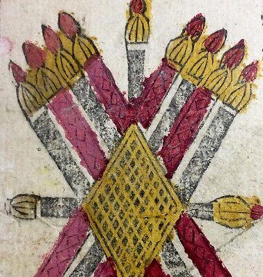 c1750 Ten of Batons Italy Minor Arcana Antique Tarot Playing Cards Single + COA