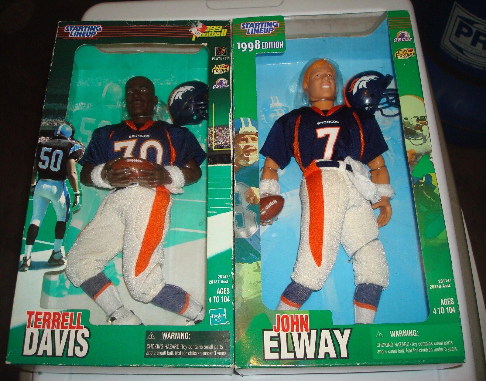Vtg Starting Lineup John Elway Terrell Davis Denver Broncos 12  Poseable Figures