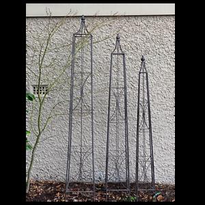 Plant Cage Obelisk Square Metal Steel Stake Trellis Climbing Dome Garden Set 3 Ebay