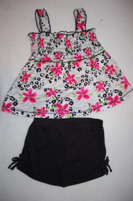 5774fdc416aa Toddler Girls Outfit SMOCKED TANK TOP Animal Print PINK FLOWERS Black  Shorts 4T