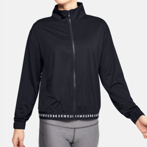 Under Armour Training Jacket Womens Small Authentic Black Loose Fit Gym Full Zip