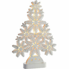White Shabby Chic 40cm Pre-Lit Wooden Snowflake Table Tree Christmas Decoration