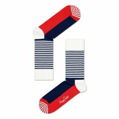 Bleu Marine//Blanc Happy Socks Demi Rayure Chaussettes pour Hommes