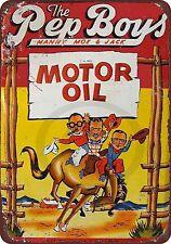 Pep Boys Western Motor Oil Vintage Look Reproduction 8x12 Metal Sign