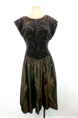 VTG 80s Formal Velvet Evening Dress Iridescent Lam