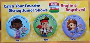 Disneyland-DCA-Disney-Junior-Live-Button-Pin-Set-Doc-McStuffins-Sofia-Jake-NEW