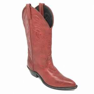 Women-039-s-Laredo-Western-Boots-Cowgirl-Shoes-Size-5-5-M-Red-Leather-Pull-On-AI11