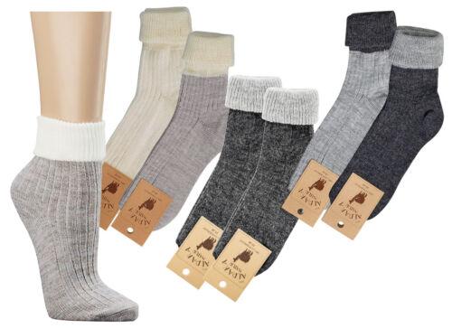 2 Paar Damen und Herren Socken Umschlagsöckchen mit Alpakawolle CH 192