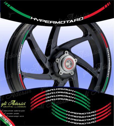 Kit Adesivi Cerchi Moto Ruote DUCATIHYPERMOTARD 796 1100 821 939 tricolore ita