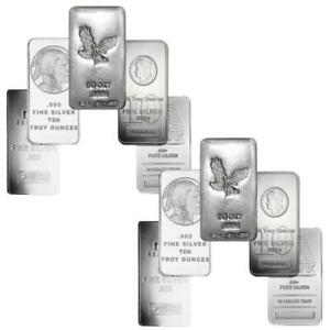Generic-Silver-10-oz-Bar-Lot-of-10