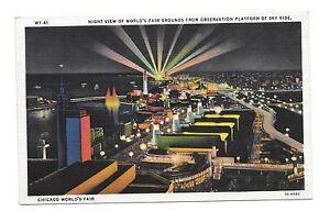 1933-Chicago-World-039-s-Fair-PC-Night-View-of-Fairgrounds-From-Skyride