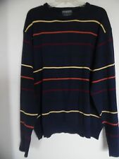 Lyle and scott  Vintage Navy Blue Strped Combed Cotton  men sweater Sz Medium
