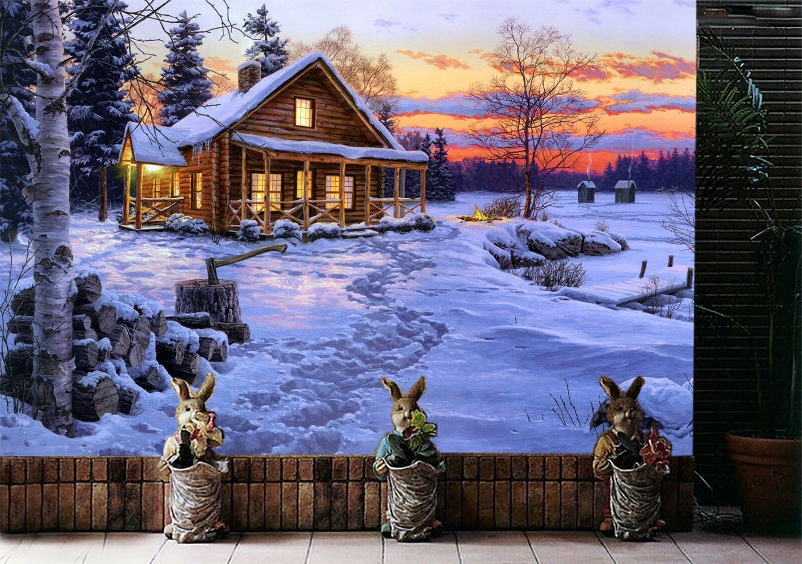 3D Winter Haus Landschaft 8732 Tapete Wandgemälde Tapeten Bild Familie DE Lemon  | Deutschland Berlin  | Offizielle  | Deutschland