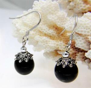 GENUINE-NATURAL-BLACK-CORAL-10MM-BALL-DANGLE-HOOK-EARRINGS-925-STERLING-SILVER