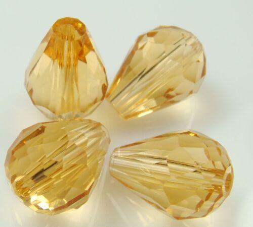 30pc 8x12mm Champagne Crystal Teardrop Gems Loose Beads
