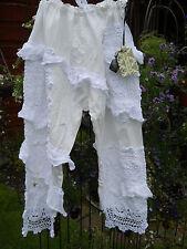 ONE SIZE COTTON LAGENLOOK GYPSY WHITE TROUSERS CROPPED PANTS CROCHET RITANOTIARA
