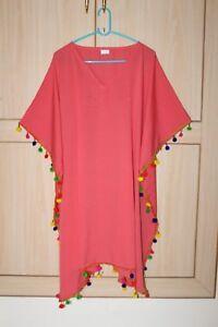 Women-039-S-Short-Pom-Pom-Lace-Kaftan-Plus-Size-Top-Tunic-Knee-Length-Dress-S-6X