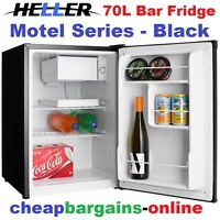 Heller Bar Fridge 70lt Motel Series Fridge Black Home Office Shed Caravan Drinks