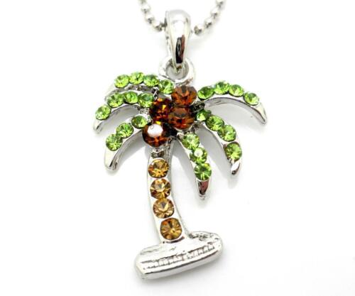 New Palm Tree Coconuts Necklace Austrian Crystal Pendant Silver Plated Women