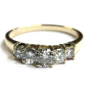 GIA-14k-yellow-gold-88ct-5-stone-round-diamond-engagement-ring-2-8g-estate
