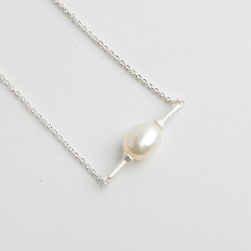 NEW Kendra Scott SILVER Emberly Cultured Pearl Pendant Necklace Rhodium Plated