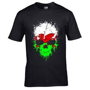 Aged-Gocciolante-Teschio-Gotico-amp-Drago-Gallese-Cymru-Bandiera-Uomo-T-Shirt-Top