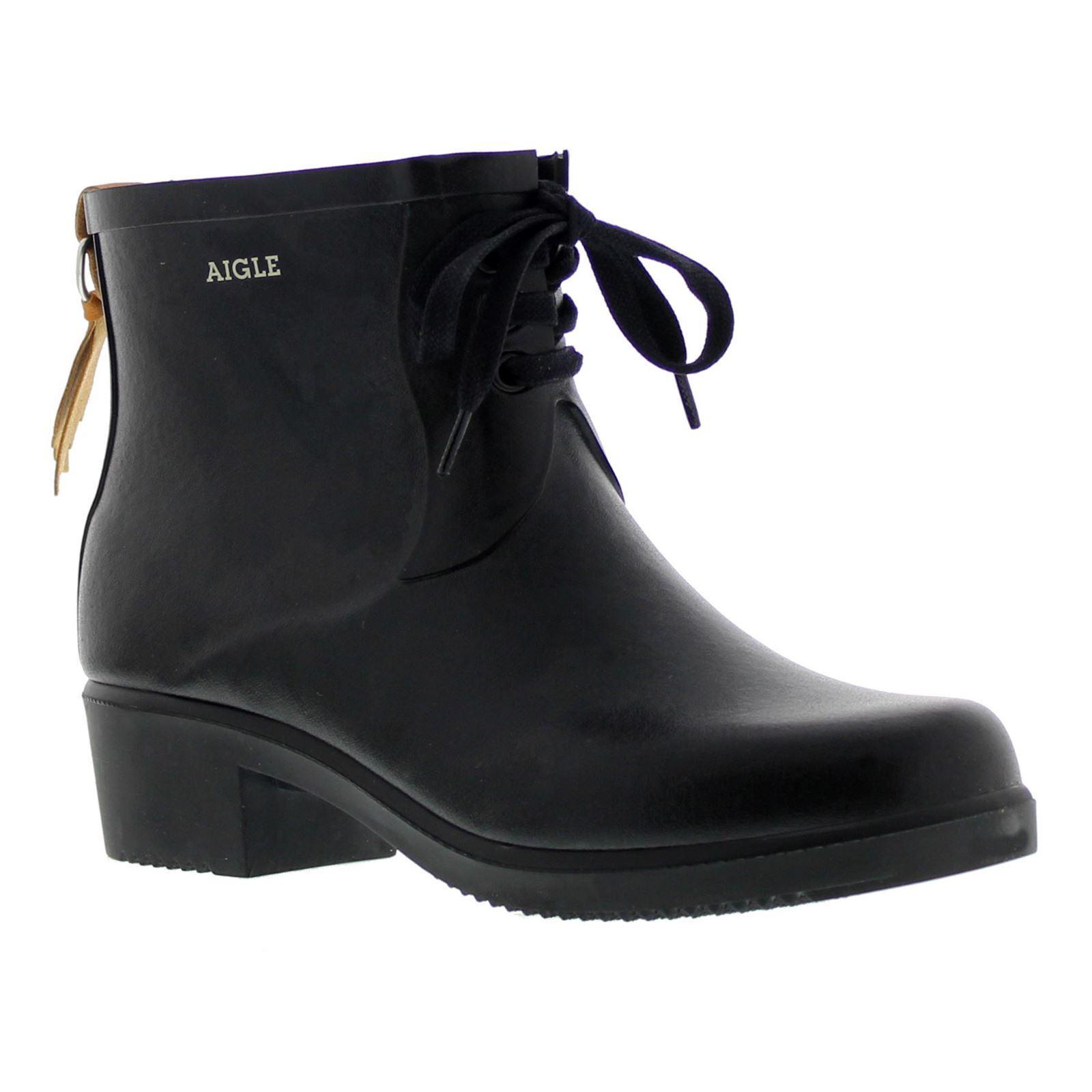 Aigle Miss Juliette bottillon Encaje Negro Para mujeres botas botas botas al Tobillo botas De Agua Goma