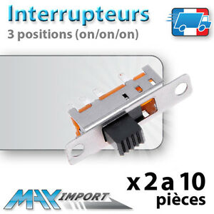 Interrupteur glissi re 3 positions on on on fixation for Interrupteur mural 3 positions