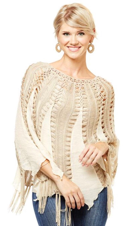 NEW NWT Coco + Carmen  Crochet Island Poncho Shirt ONE Größe