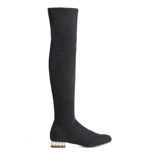 Womens Ladies Over the Knee Boots Pearl Detail Low Block Heel Boots Shoes Size