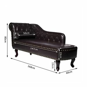 Homcom Deluxe Vintage Style Faux Leather Chaise Longue - Dark Brown