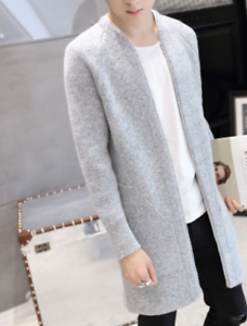 Mens Knitted Cardigans Sweater Outwear Warm Slim Winter Fashion Overcoat B310