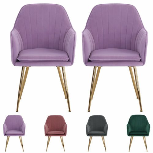 Set of 2/4 Suede Velvet Dining Chairs Kitchen Oyster Wing Back Chair Restaurants Velvet-Grey,Velvet-Purple,Velvet-Pink,Velvet-Green