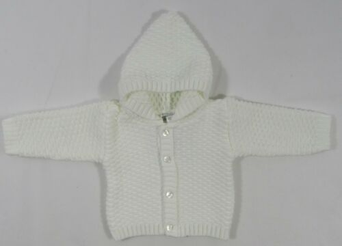 Baby Babies Girls Boys Button Up Hoodie Cardigan Knitted Pink White Blue NB 510