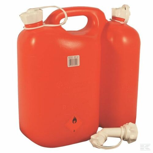 CHAINSAW FUEL CAN DOUBLE COMBI CAN JERRY CAN RED 5.5 L FUEL 3 L OIL WITH SPOUT