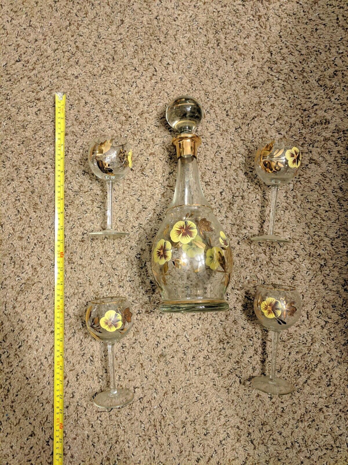 Vintage doré or 24 ct Décanteur carafe vin Set W 4 verres très bon état magnifique
