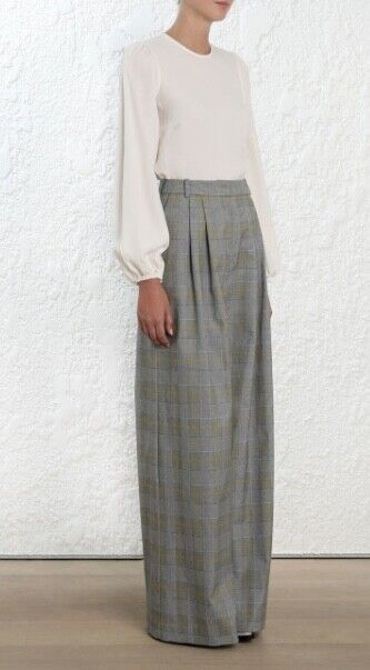 Zimmerherrenn Unbridled Slouch Pant   Plaid High Waist grau gituttio Check, Wide Leg