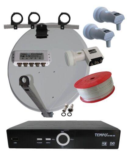 SAT-Anlage FullHD SAT Receiver mit USB 3 LNB Antenne für 4 Teilnehmer